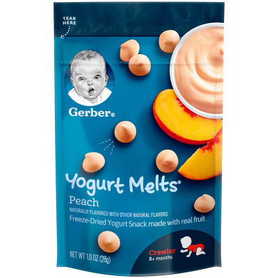 美国进口GERBER 黄桃酸奶溶豆 宝宝辅食 婴幼儿零食嘉宝水果溶豆