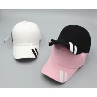 男士帽子夏季时尚潮 韩版鸭舌帽长带字母 棒球帽女夏天