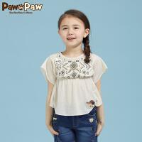【1件3折 到手价:107】Pawinpaw卡通小熊童装儿童夏款女童民族风短袖印花卡通T恤