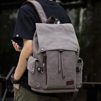 新款帆布男包潮流双肩包大容量中学生旅行背包15寸电脑包书包男士