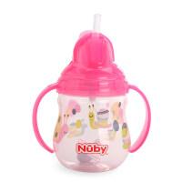 nuby努比宝宝喝水杯子带吸管 婴儿水杯手柄防漏