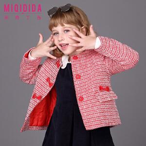 【满200减100】米奇丁当女童保暖外套2017新品冬装短款欧美时尚纯色格子外套大衣