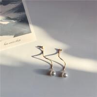 个性简约细长纽纹珍珠耳钉气质百搭长款耳环无耳洞耳夹女R860