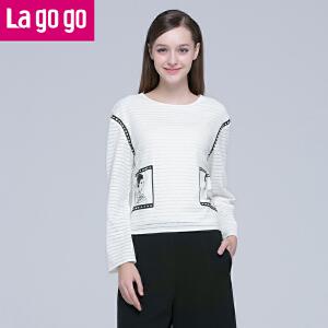 Lagogo春秋新款白色圆领镂空印花T恤长袖套头上衣女宽松休闲百搭