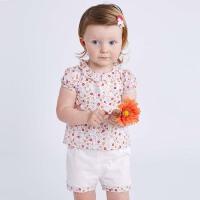 戴维贝拉女童夏装新款套装 宝宝纯棉两件套DBA6585