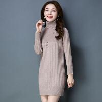 高领毛衣女套头中长款17新款冬季加厚百搭韩版宽松女士针织打底衫