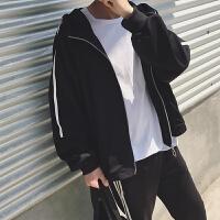 日系复古男士连帽夹克2018春季新款潮男青年bf运动外套开衫林弯弯