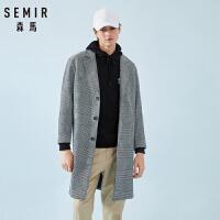 森马毛呢大衣男中长款格子外套羊毛大衣男士韩版春季新款潮