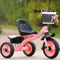儿童三轮车脚踏车小孩单车1-3-5-2-6岁大号手推车男女宝宝自行车 桃粉 大s经典粉色