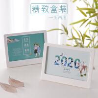 和创 台历2020创意PVC日历小清新简约卡通计划本小台历相框架办公桌面月历记事本摆件公司*可印刷订做定制