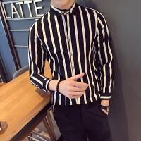 条纹男长袖衬衫青年社会小伙大码发型师衬衣