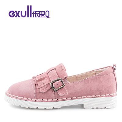 依思q春夏新款流苏皮带扣休闲鞋反绒皮低跟单鞋女鞋