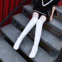 彼艾2017秋冬新款长靴女平底内增高跟鞋性感显瘦蕾丝长筒靴过膝保暖靴