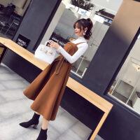 毛衣配裙子两件套2018新款秋冬法式少女气质毛呢连衣裙冬裙套装女