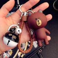韩国卡通钥匙扣可爱创意女生包包汽车挂件情侣铃铛钥匙链圈绳礼物 乳白色 站熊+棕绳+黑白铃