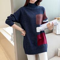 韩版套头针织衫女士外穿加绒加厚毛衣中长款新款半高领打底衫秋冬