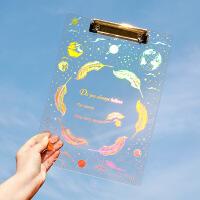 梦幻星空亚克力烫金板夹透明A4学生硬塑料写字板文具文件夹