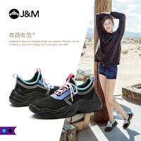jm快乐玛丽秋季新款运动套脚系带反光布休闲拼色女鞋子