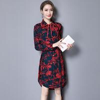 碎花连衣裙春装2018新款韩版时尚修身显瘦印花雪纺裙中长款衬衫裙