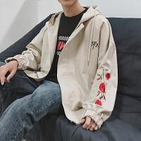新品2018春季新款玫瑰花刺绣青少年连帽休闲夹克男士宽松时尚夹克