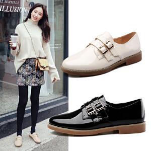 阿么时尚漆皮单鞋韩版舒适圆头低跟女鞋皮带扣方跟鞋子潮