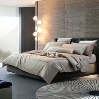 家纺四件套欧式现代简约男士商务床品床上六件套棉套件
