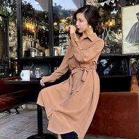 2018春装新款女装工装风长袖连衣裙名媛焦糖色中长款修身衬衫裙