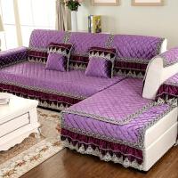 欧式沙发垫布艺冬季防滑加厚毛绒皮沙发套巾坐垫全包定做 深紫色 欧式宫廷紫色