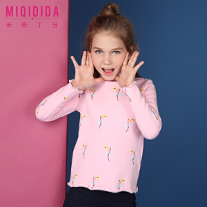 【满200减100】米奇丁当女童加绒纯色上衣2017新品冬装儿童公主卡通图案打底衫女
