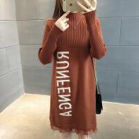 春新2018新款韩版半高领套头加厚毛衣女中长款蕾丝花边针织打底衫