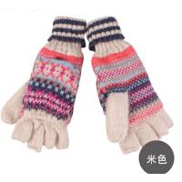 时尚新品女士毛线手套双用手套冬季可爱针织手套 半指手套