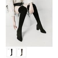 青婉田尖头高筒靴女2018新款韩版显瘦高跟系带长筒靴女过膝长靴女