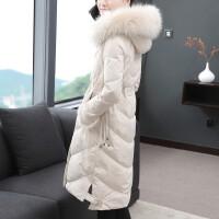 羽绒服女中长款2018新款冬季女装韩版时尚毛袖过膝大毛领外套