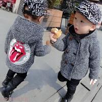 冬季天天男童装宝宝秋冬装加厚外套1-2-3-4-5岁儿童毛呢子大衣潮秋冬新款 灰色
