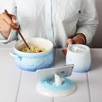 家用可爱日式餐具陶瓷泡面碗带盖拉面碗筷套装学生宿舍大号吃饭碗