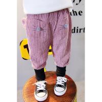 女童1秋装灯芯绒棉裤0女宝宝休闲裤2婴儿童3岁女宝加绒加厚哈伦裤