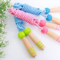 儿童早教木制手柄可调节 跳绳初学 棉绳涤纶玩具小学幼儿园