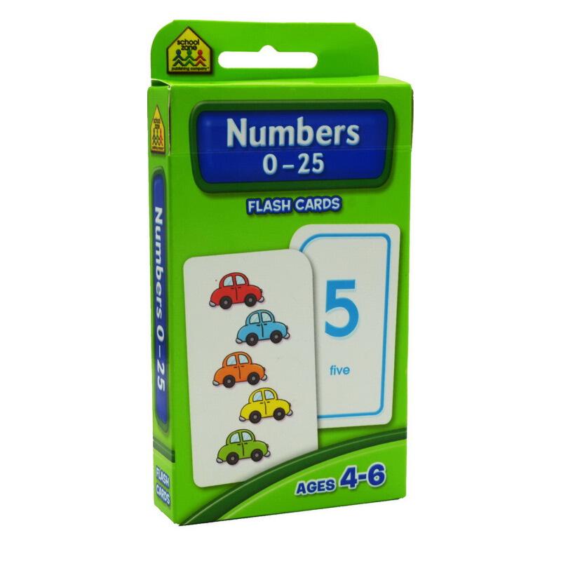 【数字0-25】School Zone Flash Cards Numbers 0-25 英文原版 儿童早教入学准备 字卡闪卡 认识数字