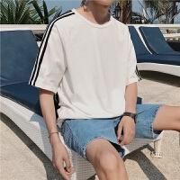 男士短袖T恤2018夏季新款圆领上衣服男落肩条杠宽松休闲打底衫潮
