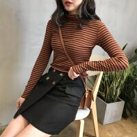 高领打底衫女条纹2018秋冬韩版修身薄款打底衫长袖T恤学生体恤衫