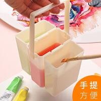 三合一多功能洗笔筒水彩水粉美术画画可手提涮笔桶小号色彩颜料学生绘画工具便携式折叠水桶