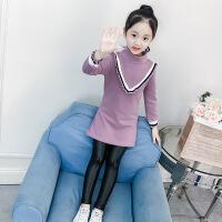 女童打底衫中长款秋冬2018新款韩版洋气女孩冬装上衣童装加绒卫衣