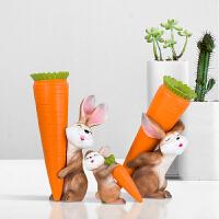 现代简约家居酒柜装饰品摆件兔子小花瓶创意卡通仿真插花花器摆设