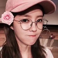 韩国原宿平光镜复古文艺金属眼镜框近视男女款超轻圆形细框眼镜架 均码