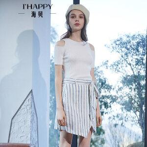 海贝2018春季新款女装 不规则条纹收腰系带高腰半身裙短裙