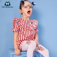 【限时1件6折 2件5折】迷你巴拉巴拉女童短袖连衣裙年夏装新款宝宝公主裙洋气裙子