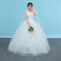 孕妇婚纱礼服新娘2018新款长袖高腰韩式公主显瘦齐地婚纱一字肩