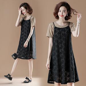 【仅限今日,满100减50】胖mm大码女装夏装短袖t恤蕾丝吊带连衣裙两件套FLD4123-18033