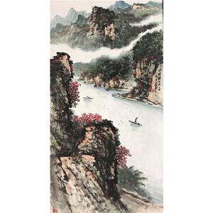 关山月《峡江行舟》著名画家