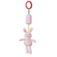 20180528065925494婴儿推车挂件床铃风铃带牙胶床绕摇铃床头挂饰 宝宝玩具 浅咖啡 条纹兔子风铃